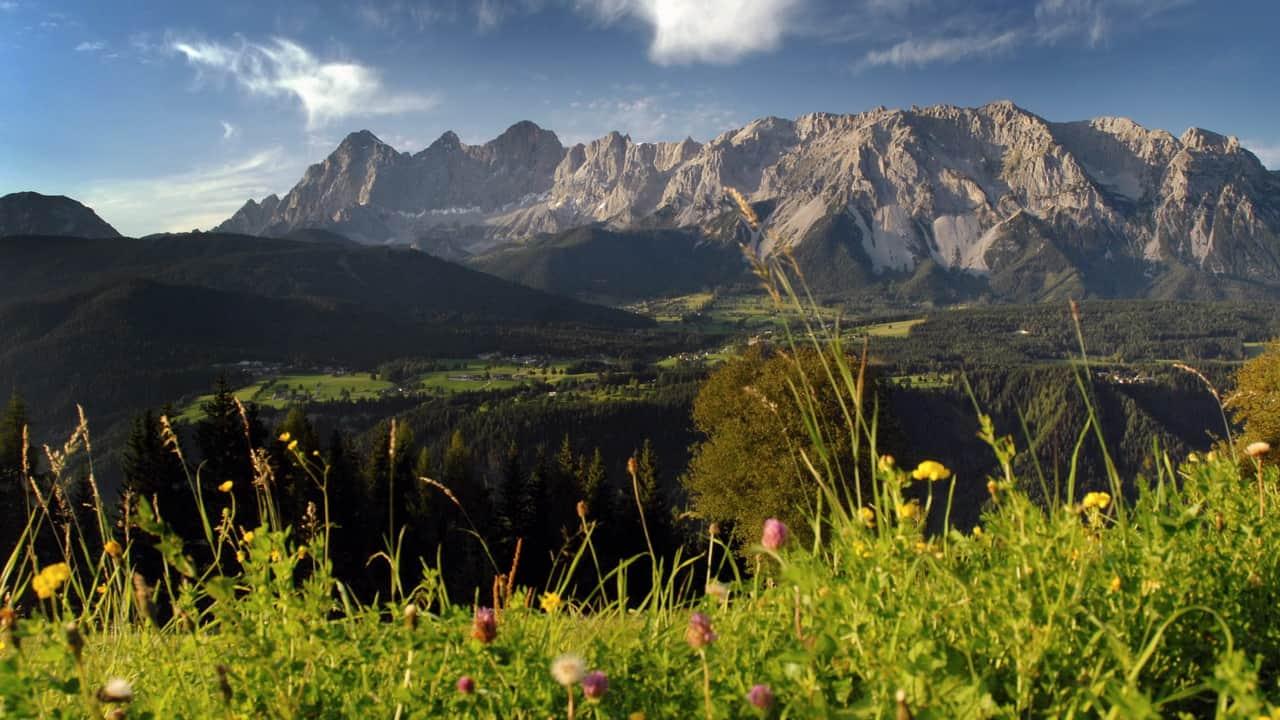 Ramsau vandring Dachstein semester i Österrike
