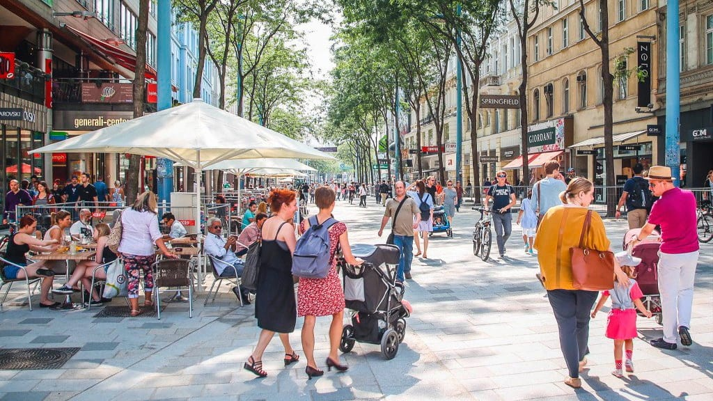 City-Shopping på Mariahilferstrasse i Wien