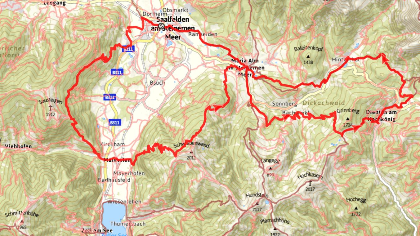 Vandra vid Zell am See med Austria Travel - karta