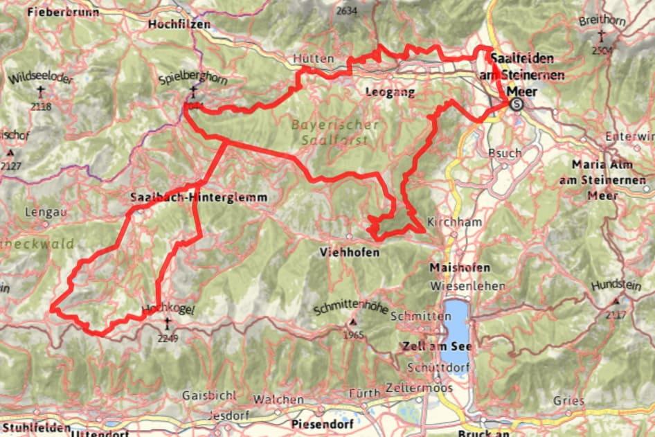 Vandra på egen hand till Saalbach Hinterglemm med Austria Travel - Karta