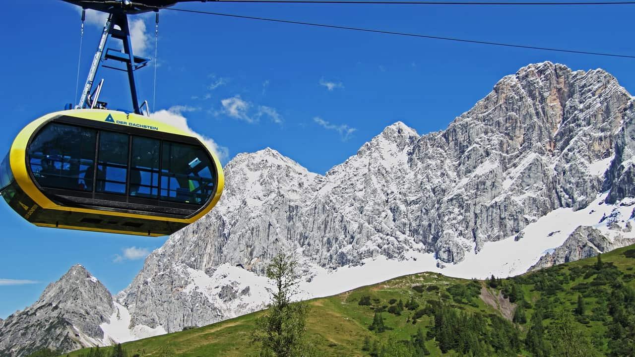 Dachstein Panorama Gondel Planai Hochwurzen vandring semester i Österrike