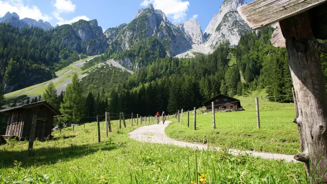 Dachstein med pittoreska fäbodar MTB cykelsemester semester i Österrike