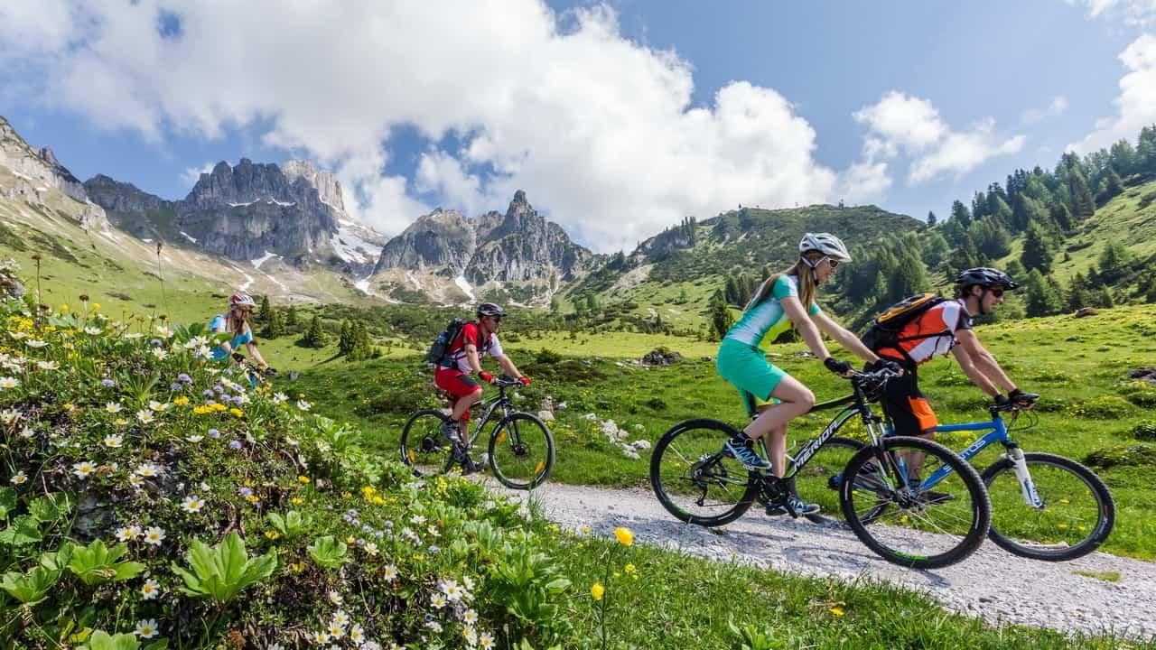 MTB Biking vid Dachstein Filzmoos Österrike Österreich