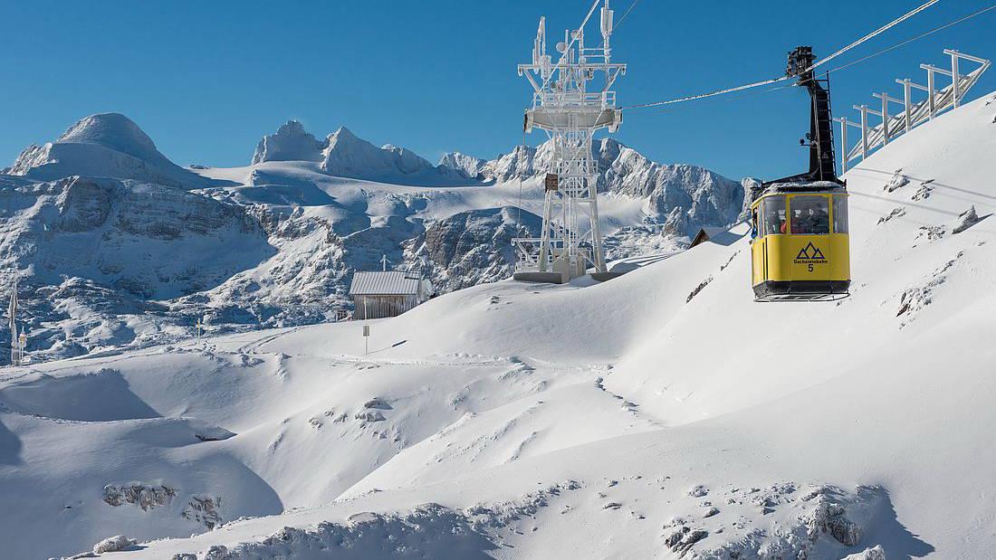 Lift Kabinbana Dachstein Snöskovandring Vintersemester i Österrike Krippenstein