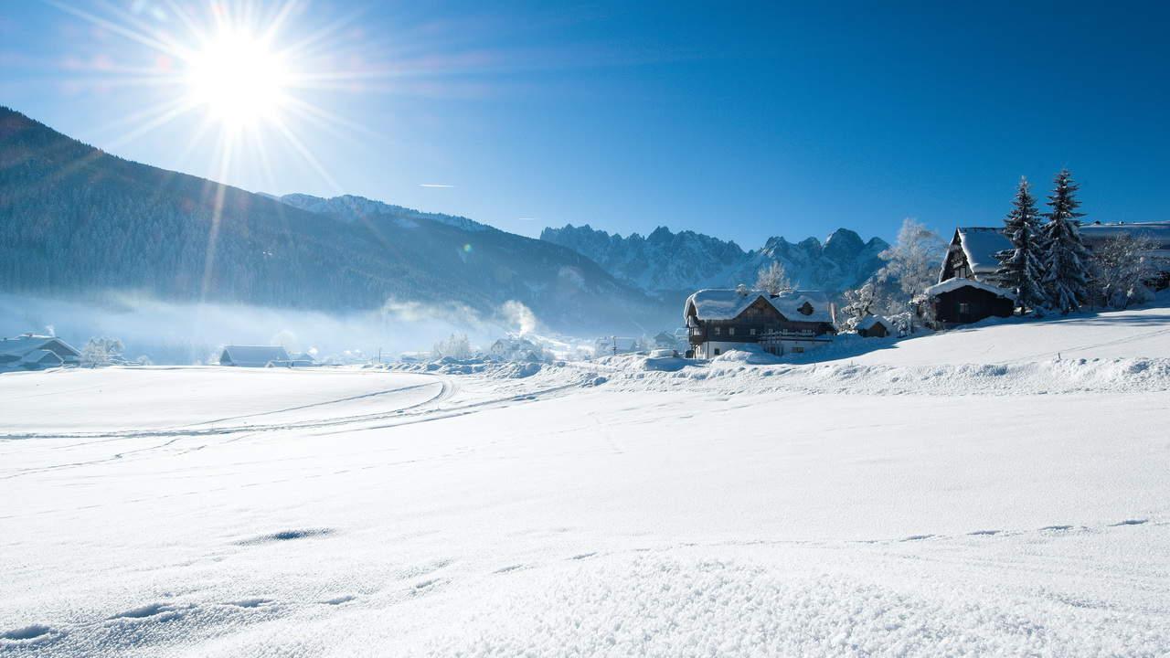 Gosau mit Gosaukamm längdåkning längdskidor vintersemester i Österrike