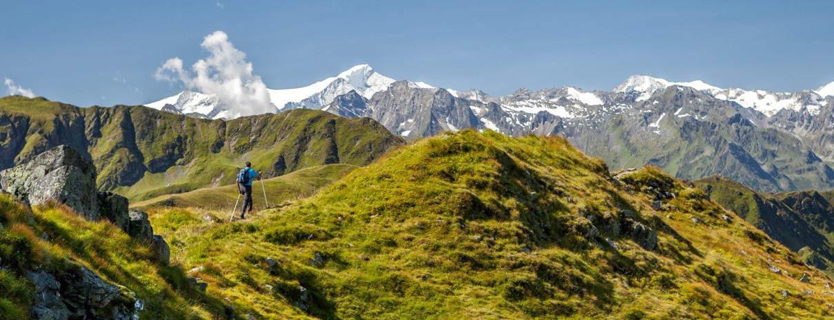 Vandring på gräsbergen vid Saalbach Hinterglemm semester i Österrike med Austria Travel