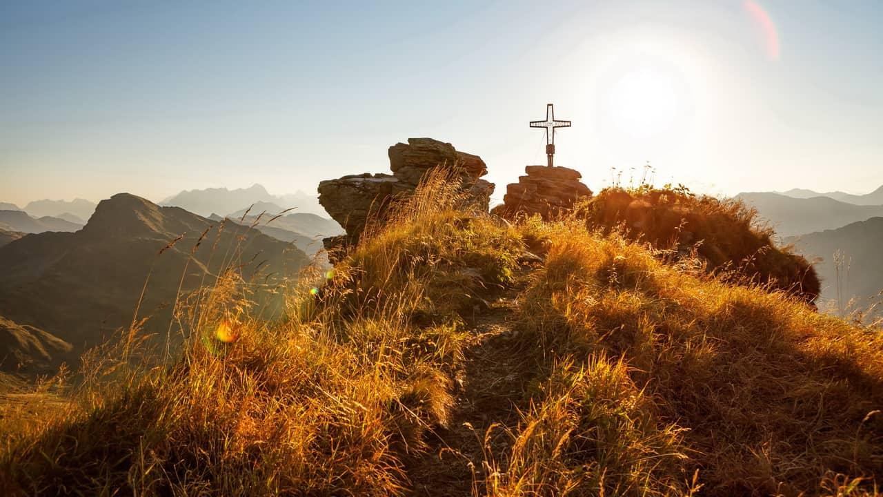 Landskap Saalbach Hinterglemm Gipfelkreuz Kreuz Semester i Österrike