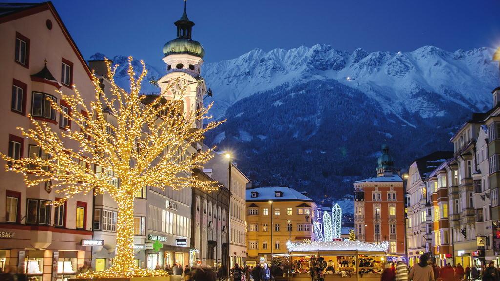 Christkindlmarkt-Maria-Theresien-Strasse Innsbruck Tirol Semester i Österrike