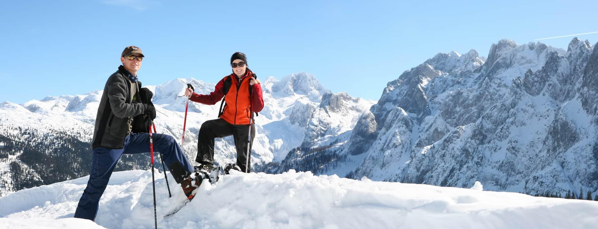 Snösko vandring snöskovandring Gosau Dachstein Salzkammergut Österrike skidsemester
