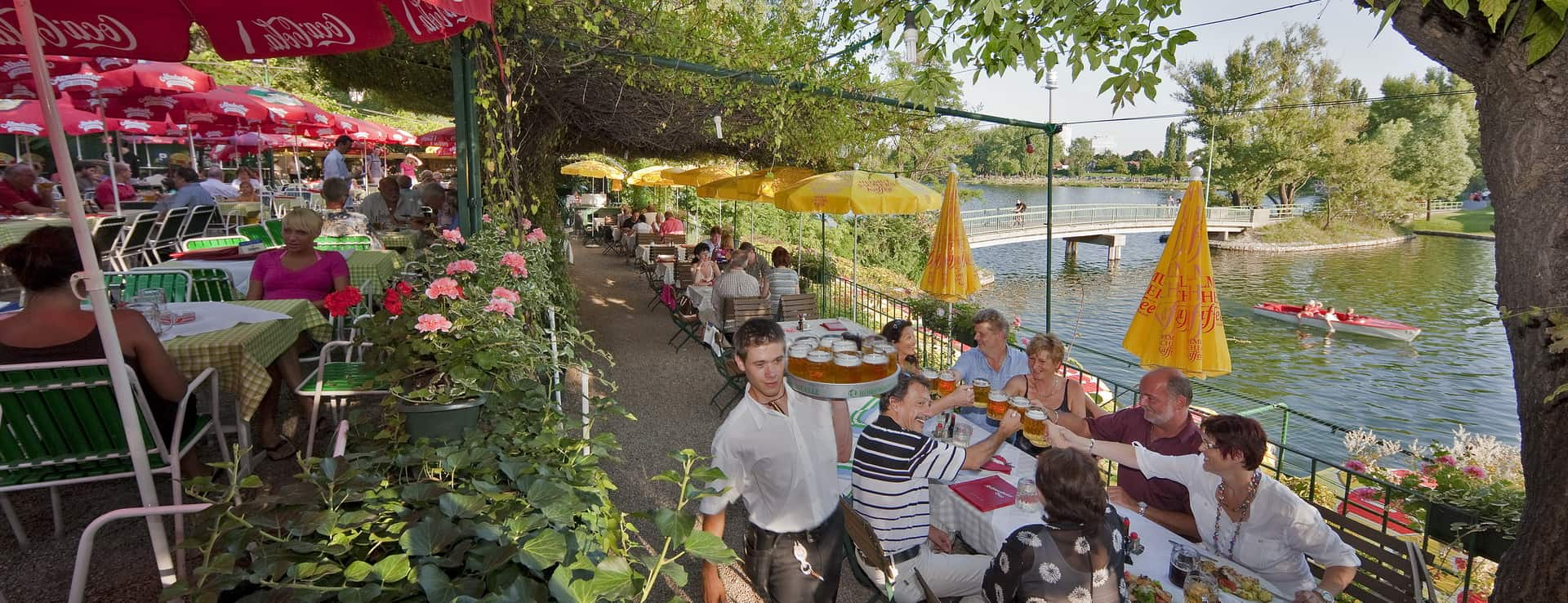 Strandgasthof Birner vid alte Donau i Wien