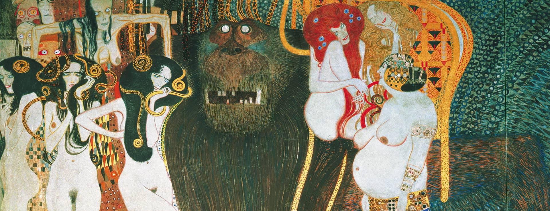 Beethovenfries - Gustav Klimt på Secession i Wien Österrike
