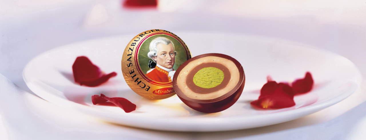 Mozartkugel von Mirabell Salzburg Semester i Österrike