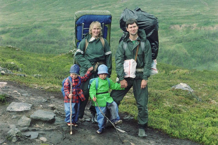 Familjen Rusner vandrar i fjällen 1987
