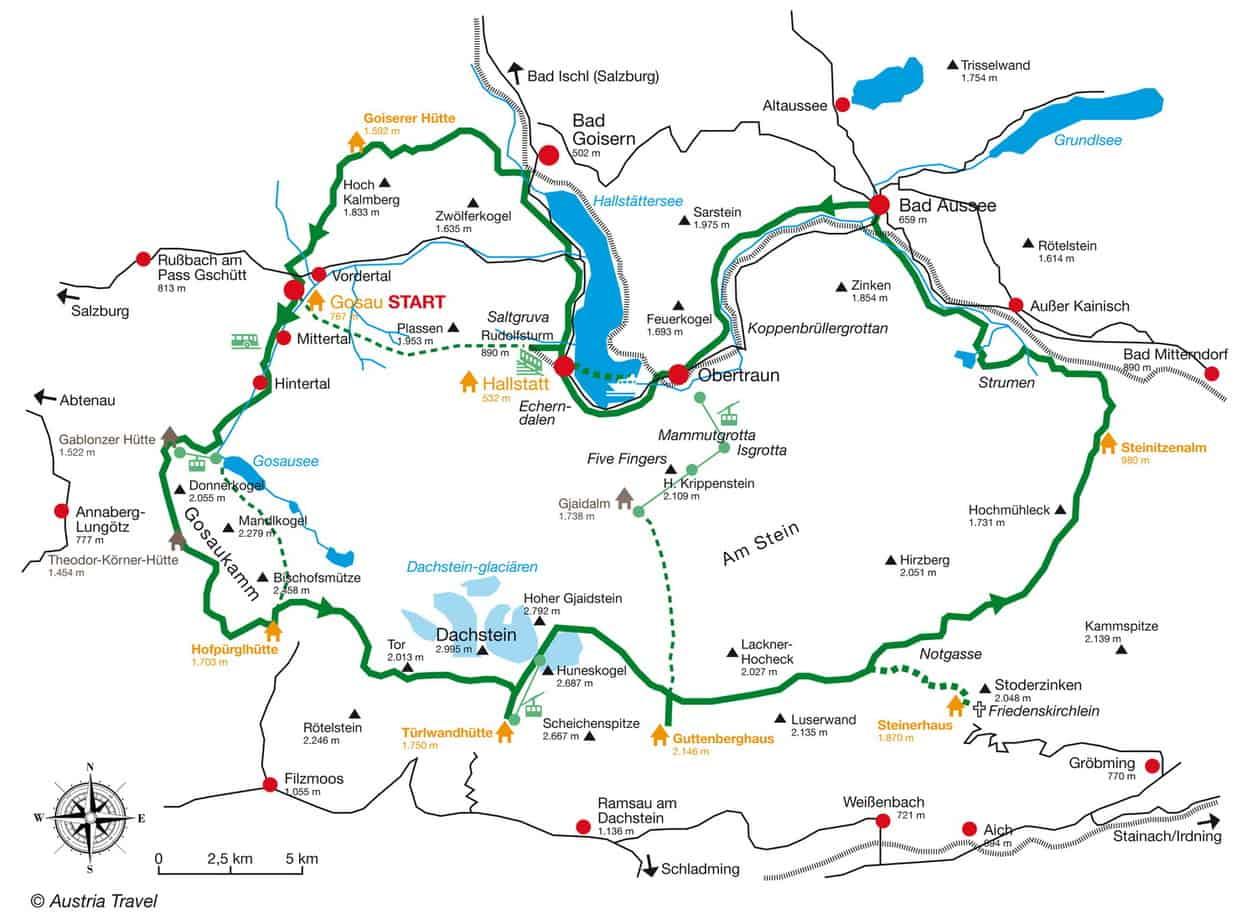 Karta över Dachstein Rundwanderweg © Austria Travel