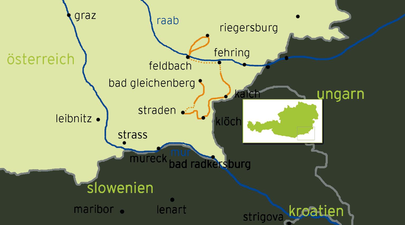 Karta över Vandra i Österrikes vulkanregion.