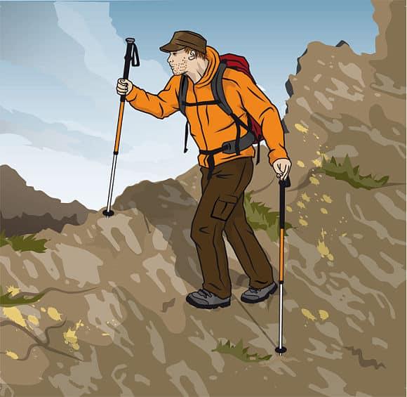 Rätt gång över sluttningar med vandringsstavar - Vandra i Österrike med Austria Travel