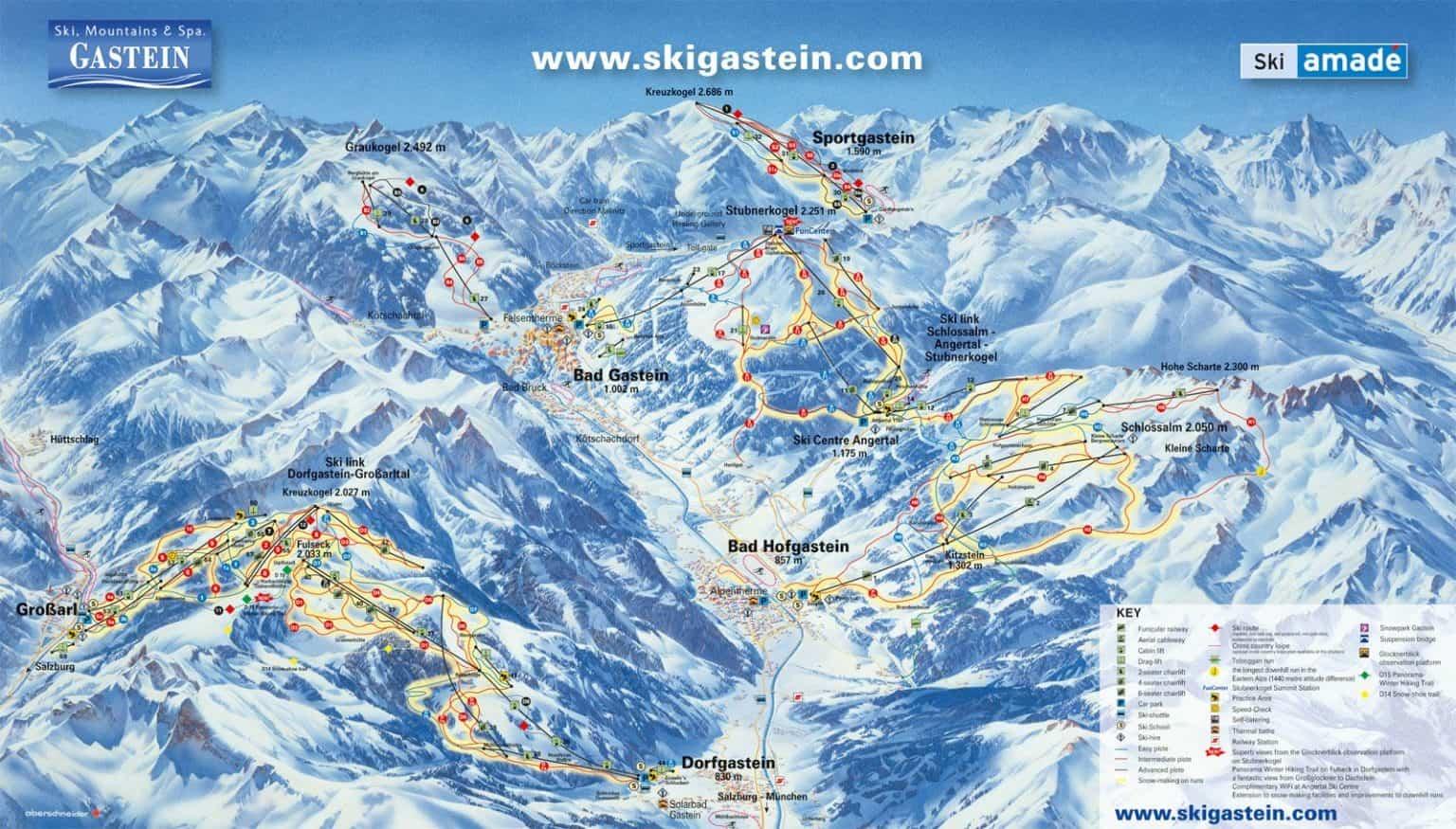 Pistkarta Gasteinerdalen för skidsemester med Austria Travel