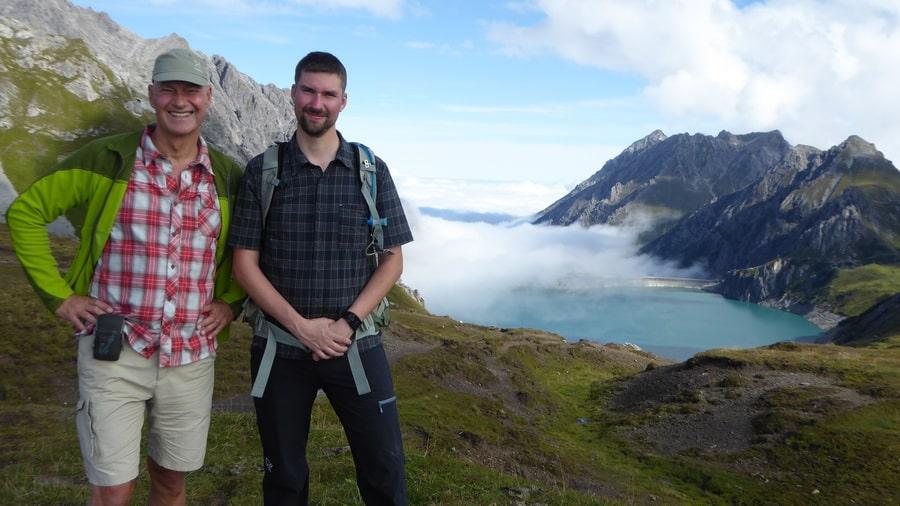 Manfred och Christian på vandring i Rätikon