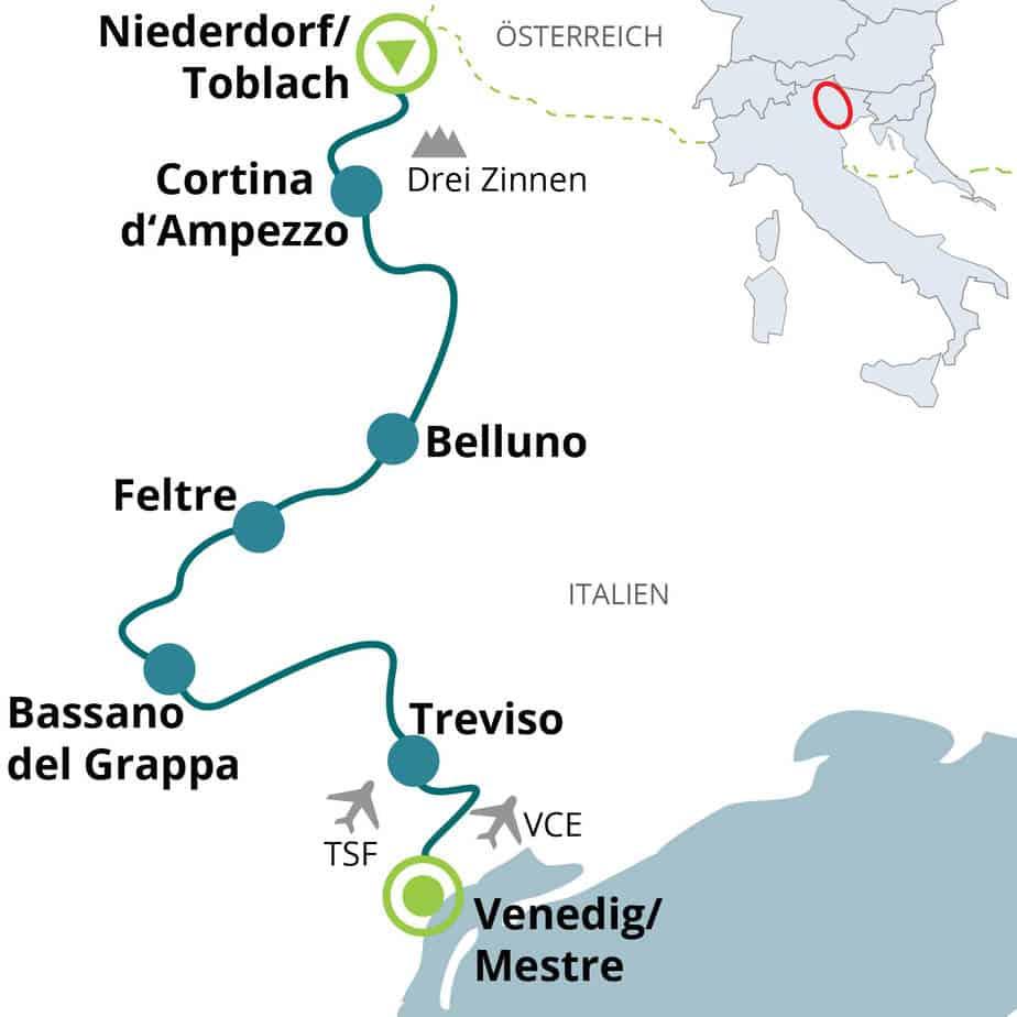 Cykelkarta från Dolomiterna till Venedig
