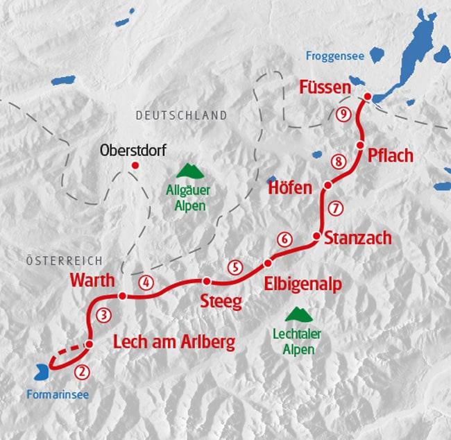 Vandra på Lechweg karta