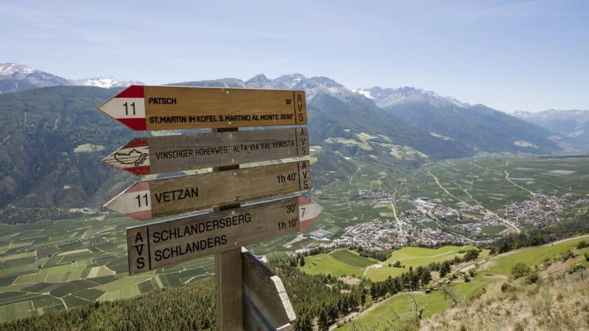Vägvisare Vinschgau Höhenweg