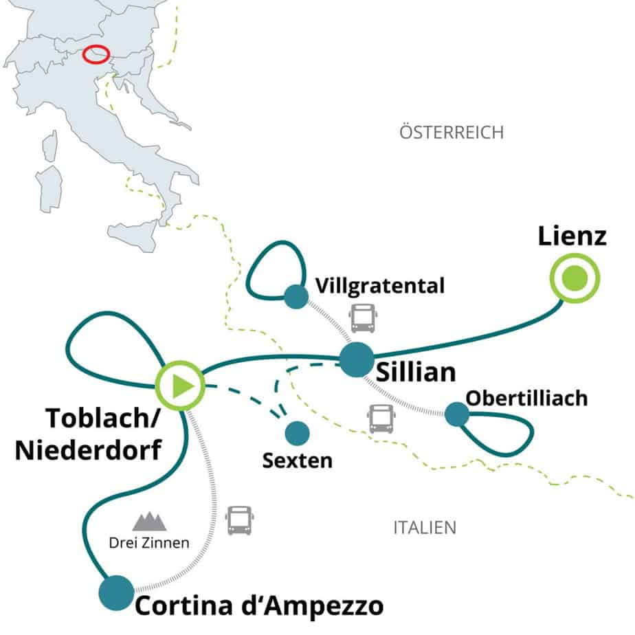 Längdskidåkning Karta Cortina Lienz