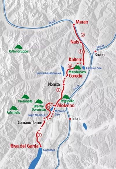 Karta vandring Merano Gardasjön