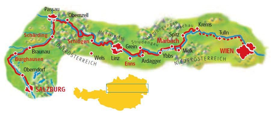 Karta cykling Salzburg Wien