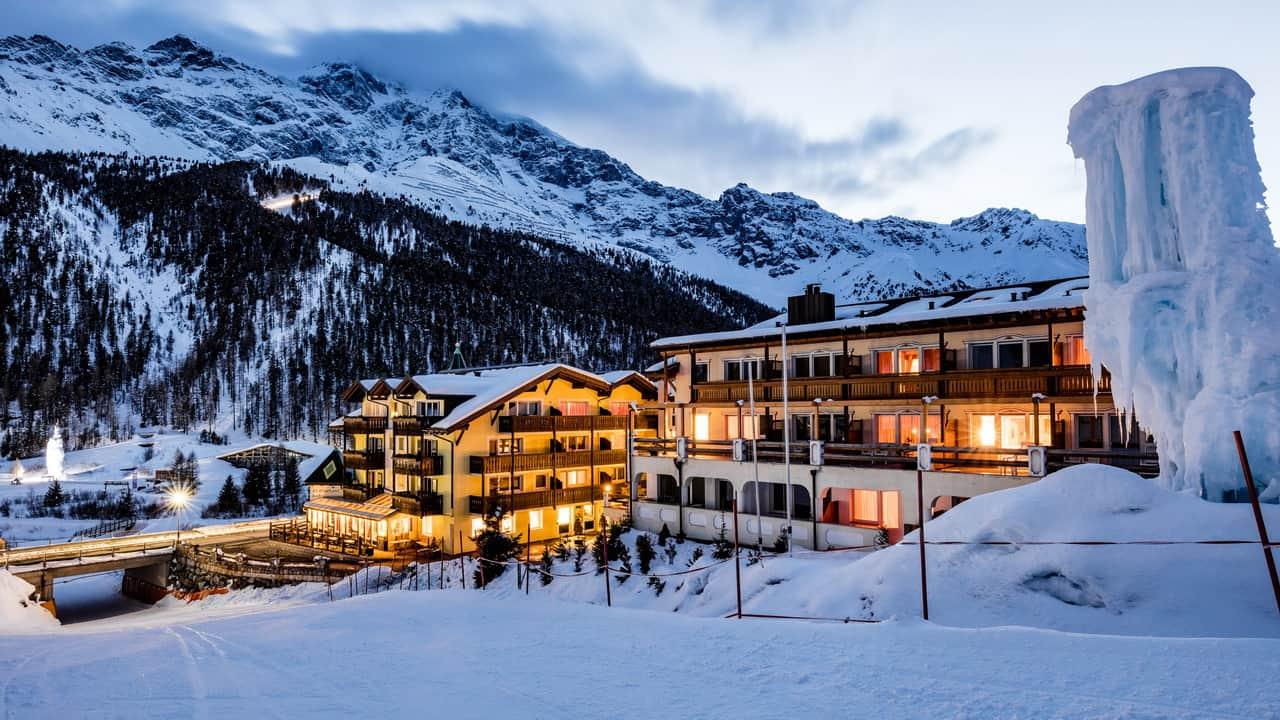 Skidsemester Hotel Paradies Sulden vintervy