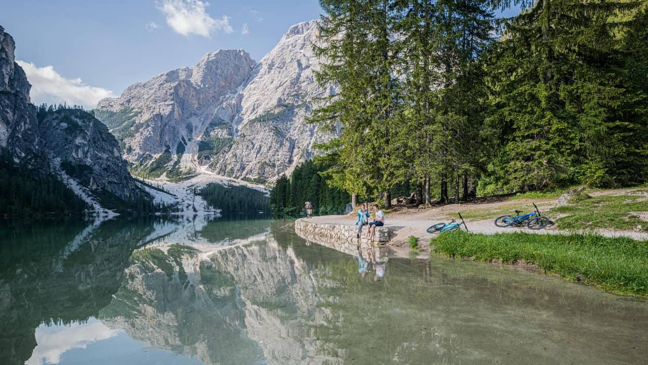 Paus med utsikt MTB Dolomiterna