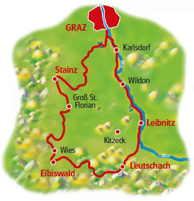 karta cykla i Österrikes vinparadis